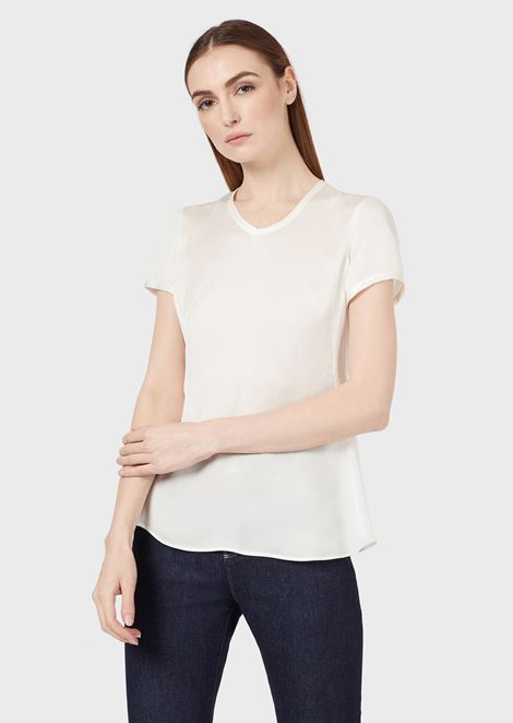 Silk charmeuse blouse with V neckline