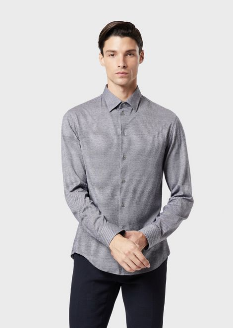 Modern-fit textured jersey shirt