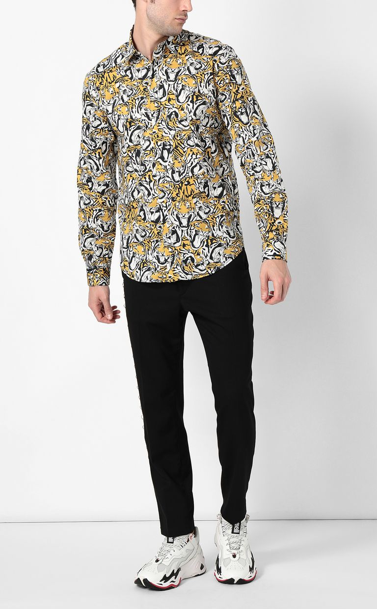 JUST CAVALLI Shirt with tigers print Long sleeve shirt Man d
