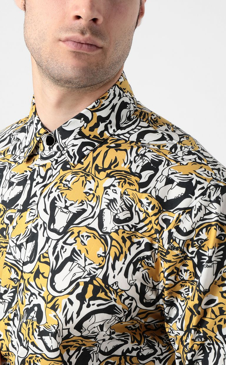 JUST CAVALLI Shirt with tigers print Long sleeve shirt Man e