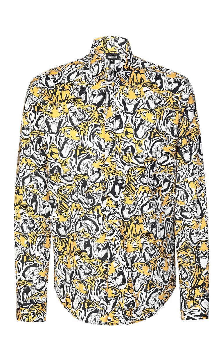 JUST CAVALLI Shirt with tigers print Long sleeve shirt Man f
