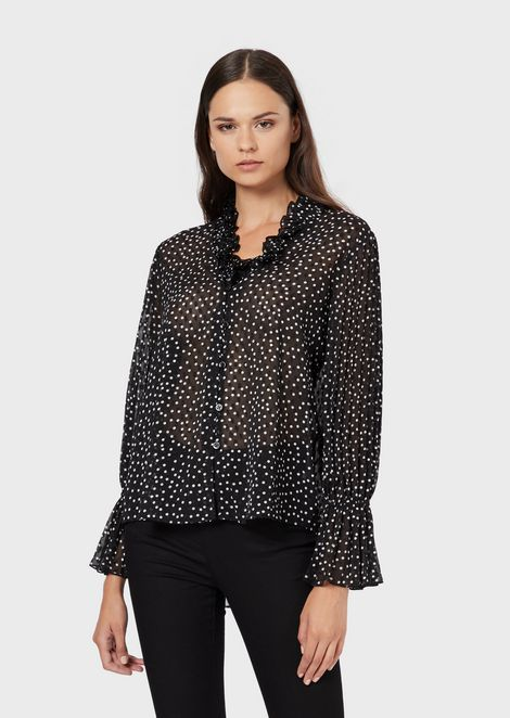 Crepon blouse with polka dot jacquard motif