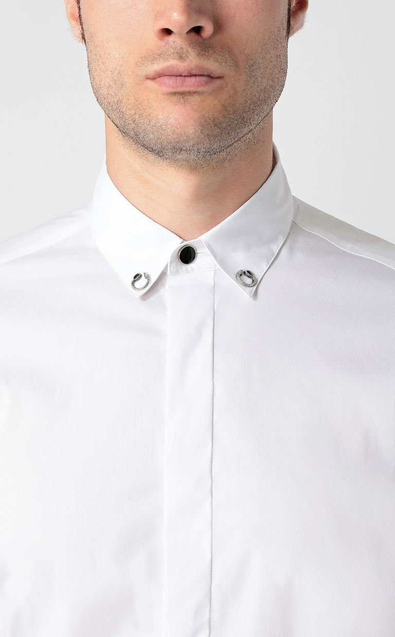 JUST CAVALLI White shirt with snake detail Long sleeve shirt Man e