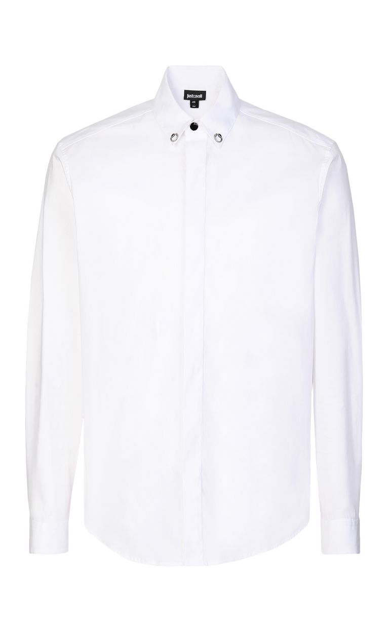JUST CAVALLI White shirt with snake detail Long sleeve shirt Man f