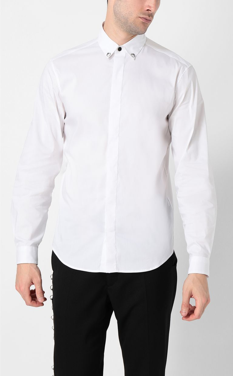 JUST CAVALLI White shirt with snake detail Long sleeve shirt Man r