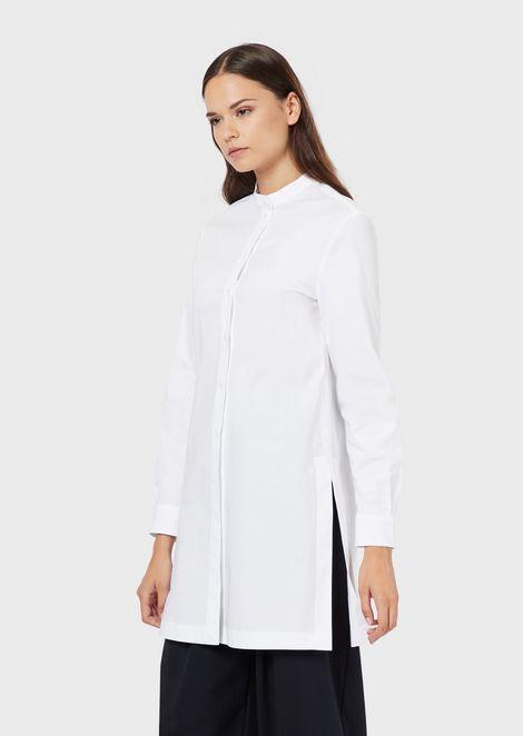 Poplin maxi blouse with guru collar