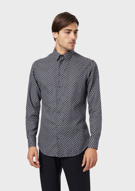 Slim-fit shirt in micro jacquard fabric