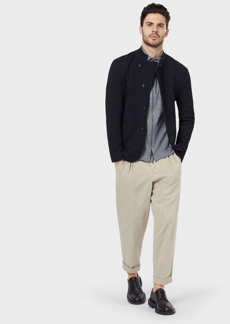 Рубашка облегающего кроя из джерси вполоску сзастежкой-молнией