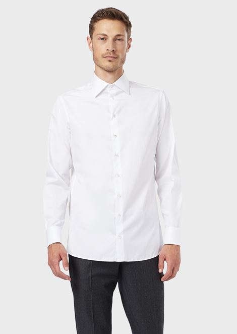 Regular-fit shirt in shiny luxury cotton