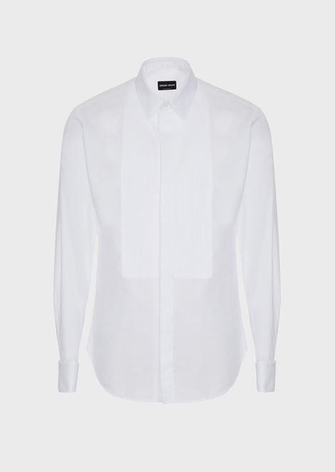 Slim-fit, pleated-bib, poplin tuxedo shirt