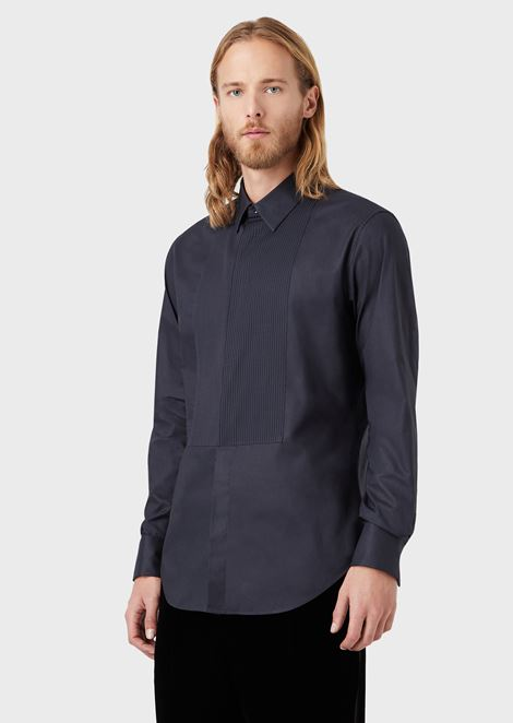 Slim-fit, pleated-bib, poplin tuxedo shirt
