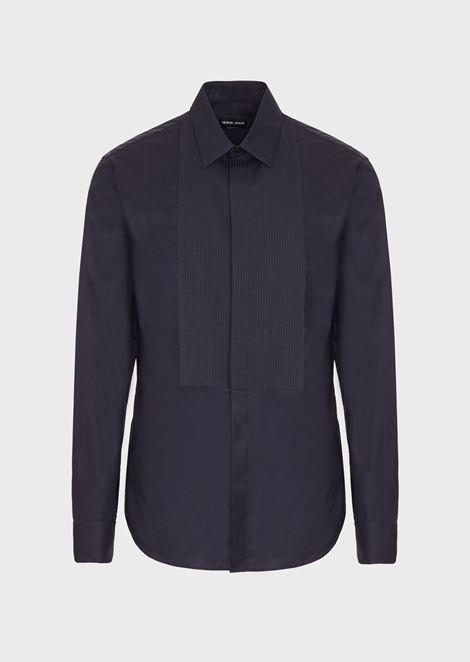 Camisa de esmoquin slim fit de popelina con pechera plisada