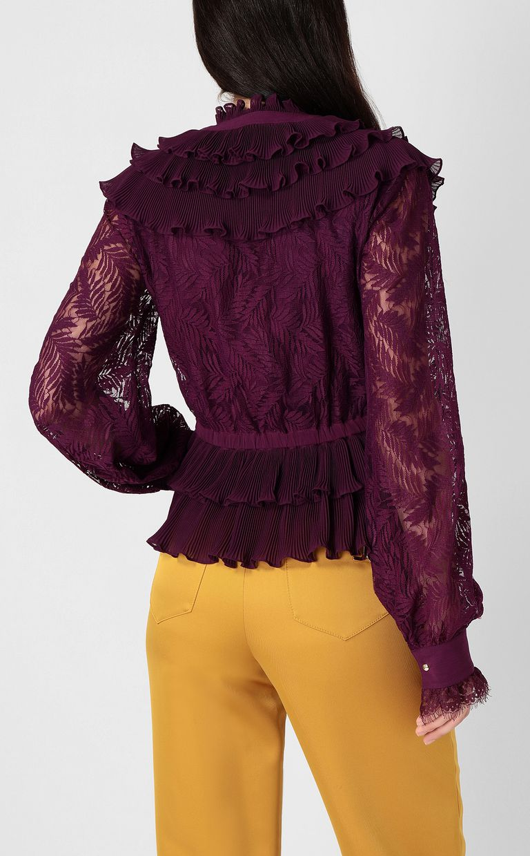 JUST CAVALLI Lace shirt with pleated detailing Long sleeve shirt Woman a