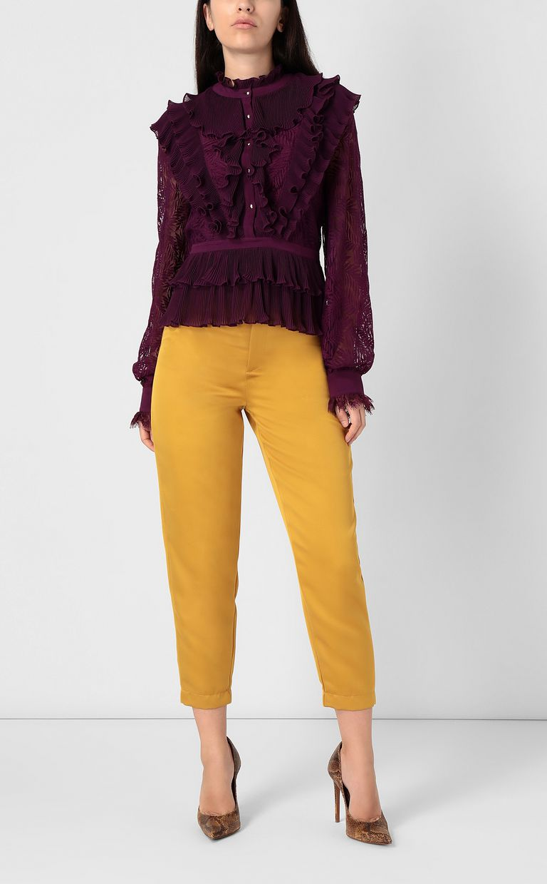 JUST CAVALLI Lace shirt with pleated detailing Long sleeve shirt Woman d