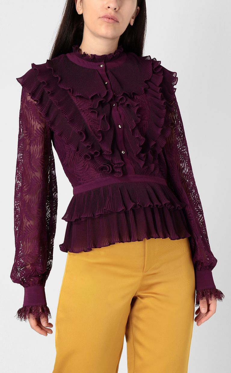 JUST CAVALLI Lace shirt with pleated detailing Long sleeve shirt Woman r
