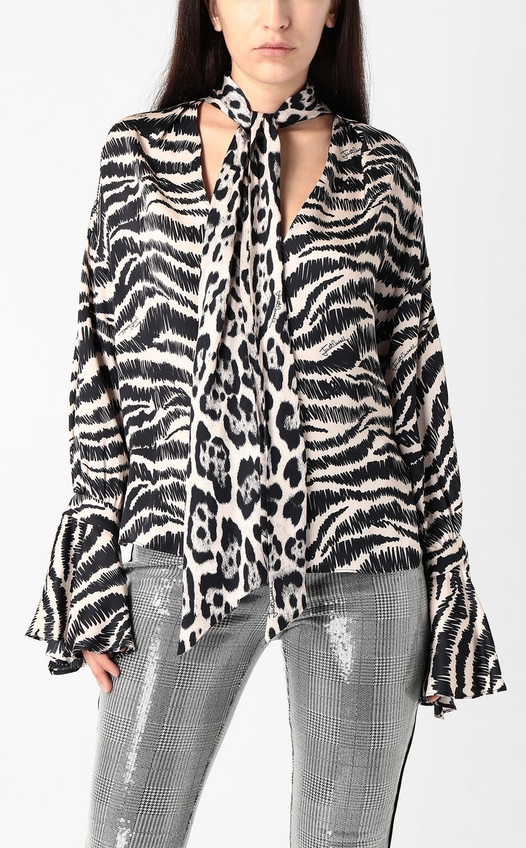 JUST CAVALLI Shirt with zebra-stripe print Blouse Woman r