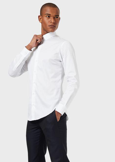 Micro-textured cotton shirt