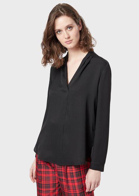 Silk-blend V-neck blouse