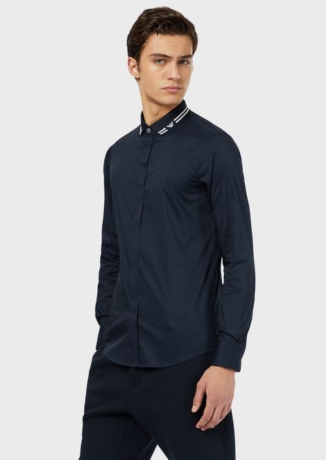 Stretch poplin shirt with logo detail