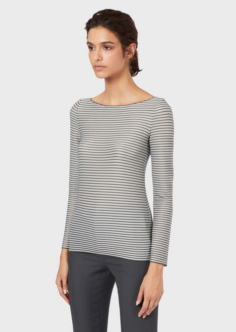 Irregularly striped jersey jumper