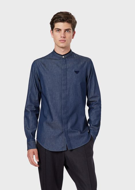 Denim shirt with guru collar