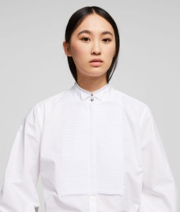 KARL LAGERFELD PLEATED PLASTRON POPLIN SHIRT