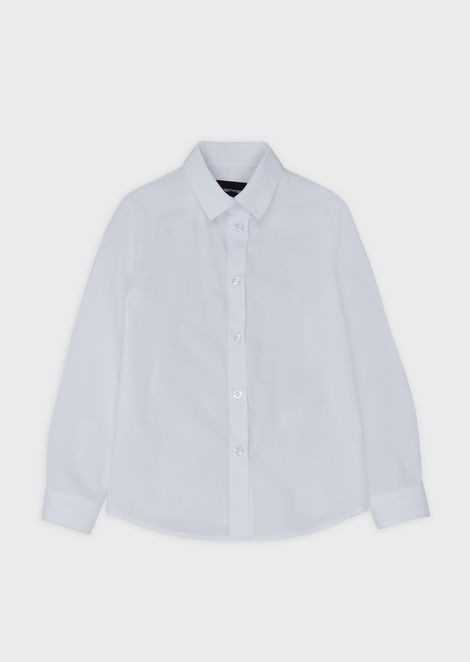 Poplin shirt with embroidered logo