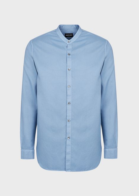 Regular-fit shirt in dyed, patterned fabric with guru collar