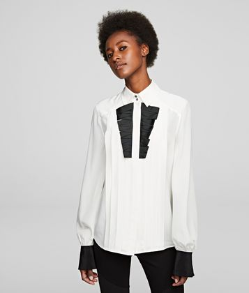 KARL LAGERFELD SILK SHIRT WITH BIB