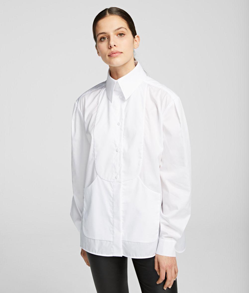 KARL LAGERFELD K/Styles Plastron Bib Shirt Blouse Woman f