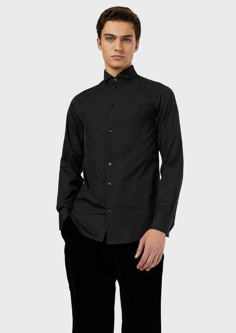 Tuxedo shirt in poplin with bib front in a honeycomb weave