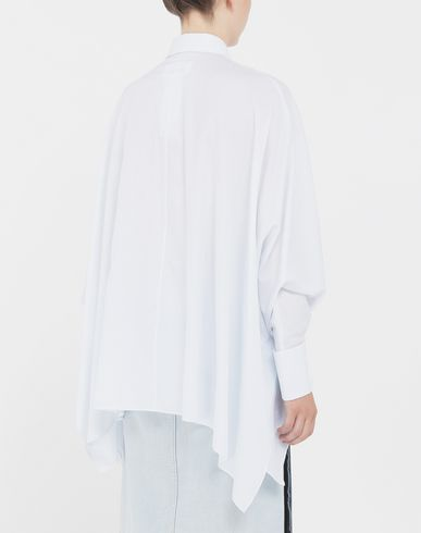 CAMICIE Camicia asimmetrica a righe sottili Bianco