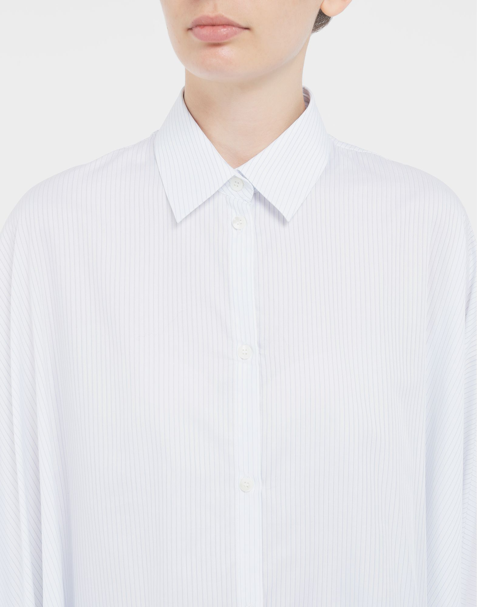 MAISON MARGIELA Pinstripe asymmetric shirt Long sleeve shirt Woman a