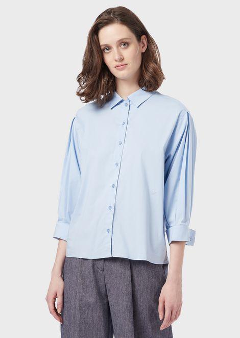 Poplin blouse with three-quarter length sleeves