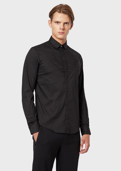 Stretch poplin shirt with embroidered maxi eagle