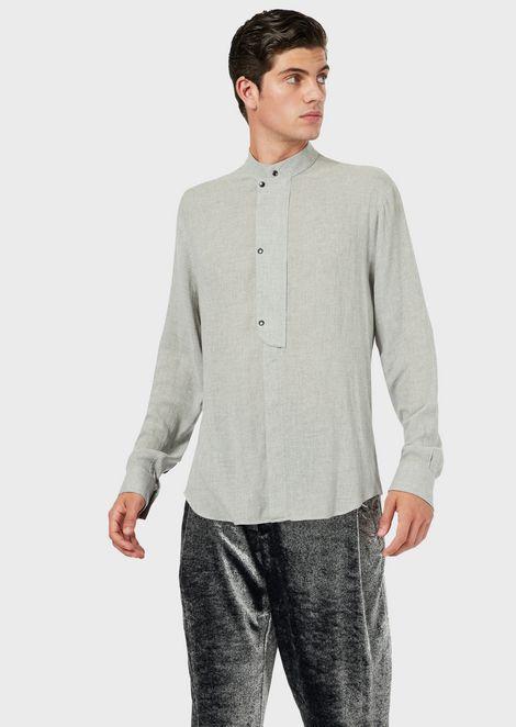 Camisa de cuello chino en mezcla de lana