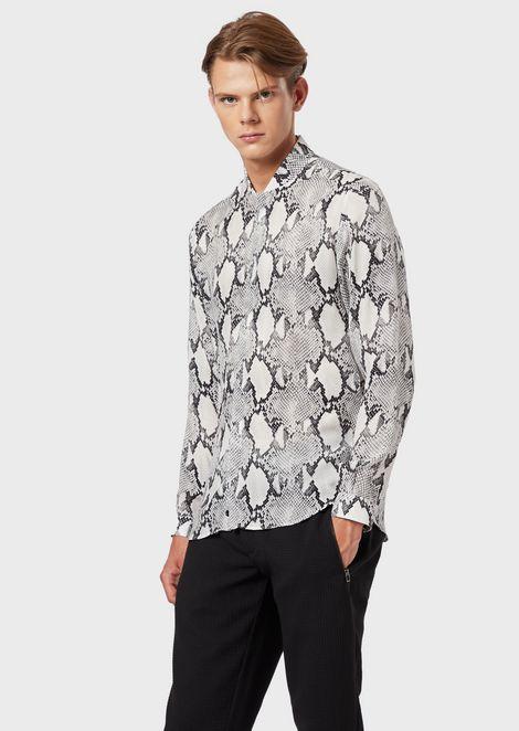 Reptile-print cupro shirt