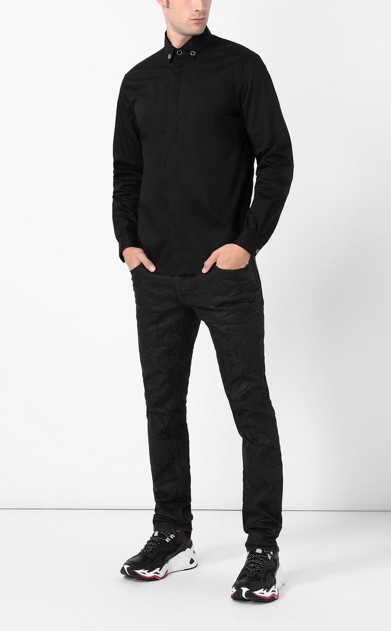 JUST CAVALLI Black shirt with snake detail Long sleeve shirt Man d
