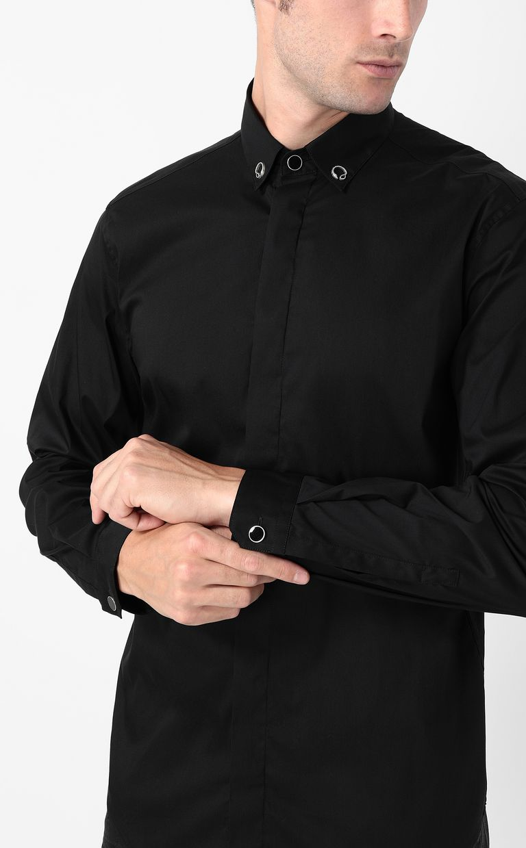 JUST CAVALLI Black shirt with snake detail Long sleeve shirt Man e