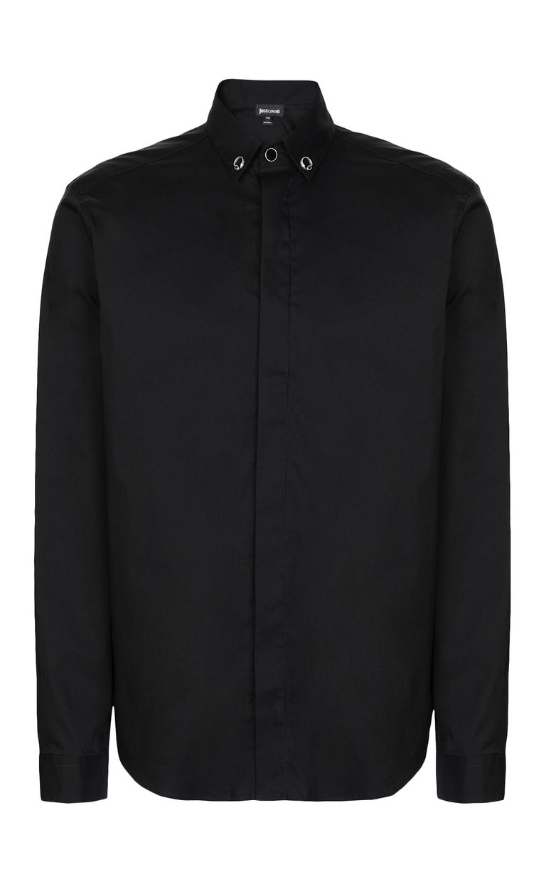 JUST CAVALLI Black shirt with snake detail Long sleeve shirt Man f