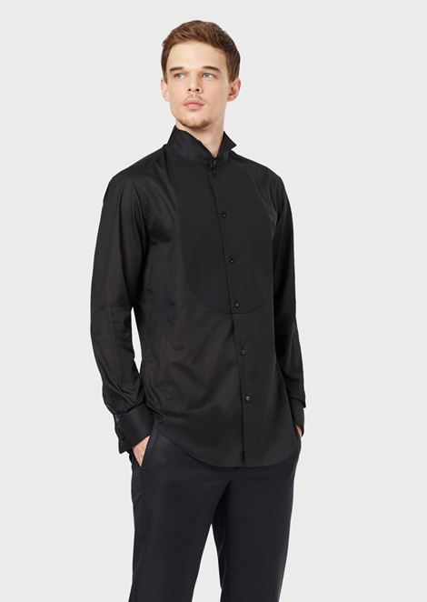 Voile tuxedo shirt with piqué bib