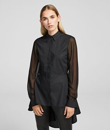 KARL LAGERFELD POPLIN TUNIC WITH PEPLUM