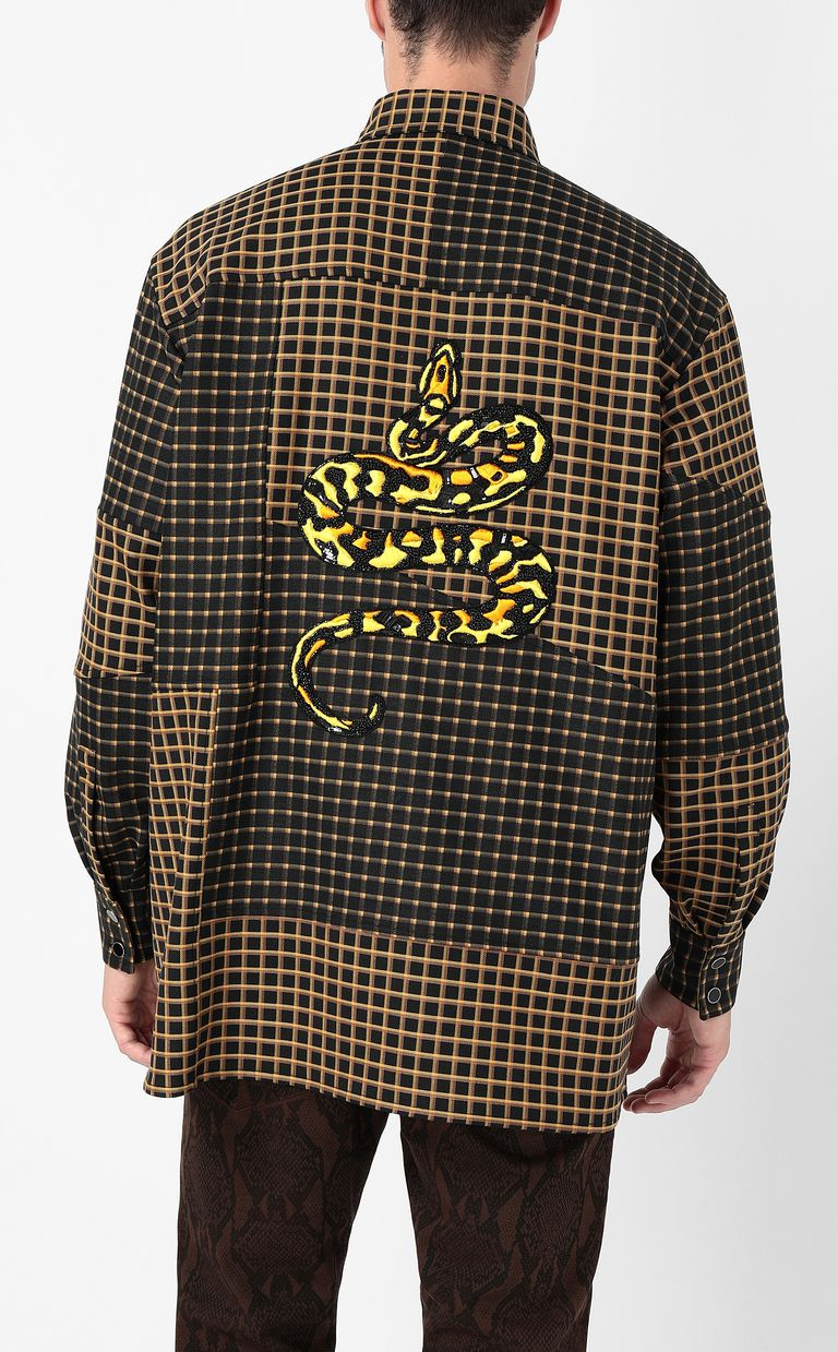 JUST CAVALLI Oversized checked shirt with snake Long sleeve shirt Man a
