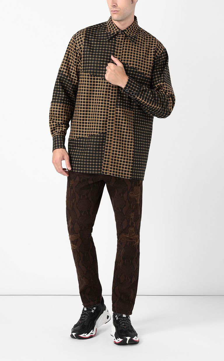 JUST CAVALLI Oversized checked shirt with snake Long sleeve shirt Man d