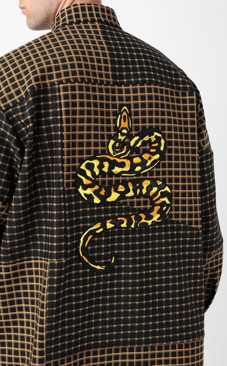 JUST CAVALLI Oversized checked shirt with snake Long sleeve shirt Man e