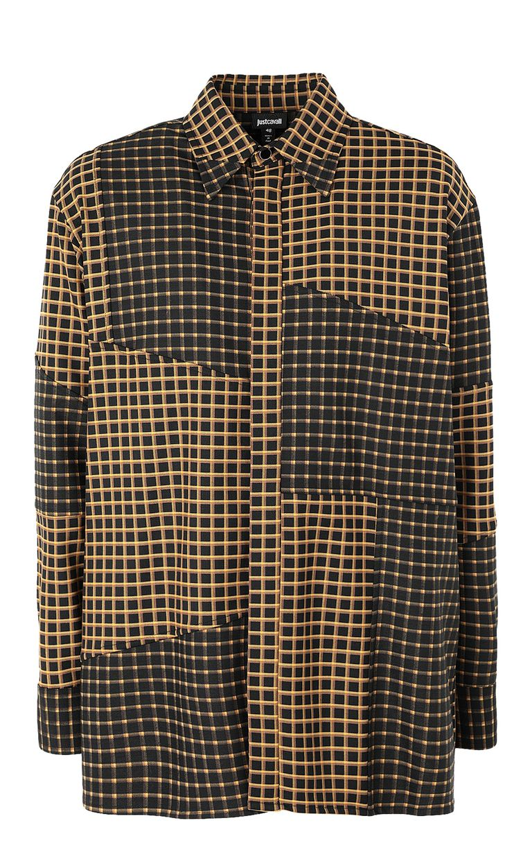 JUST CAVALLI Oversized checked shirt with snake Long sleeve shirt Man f