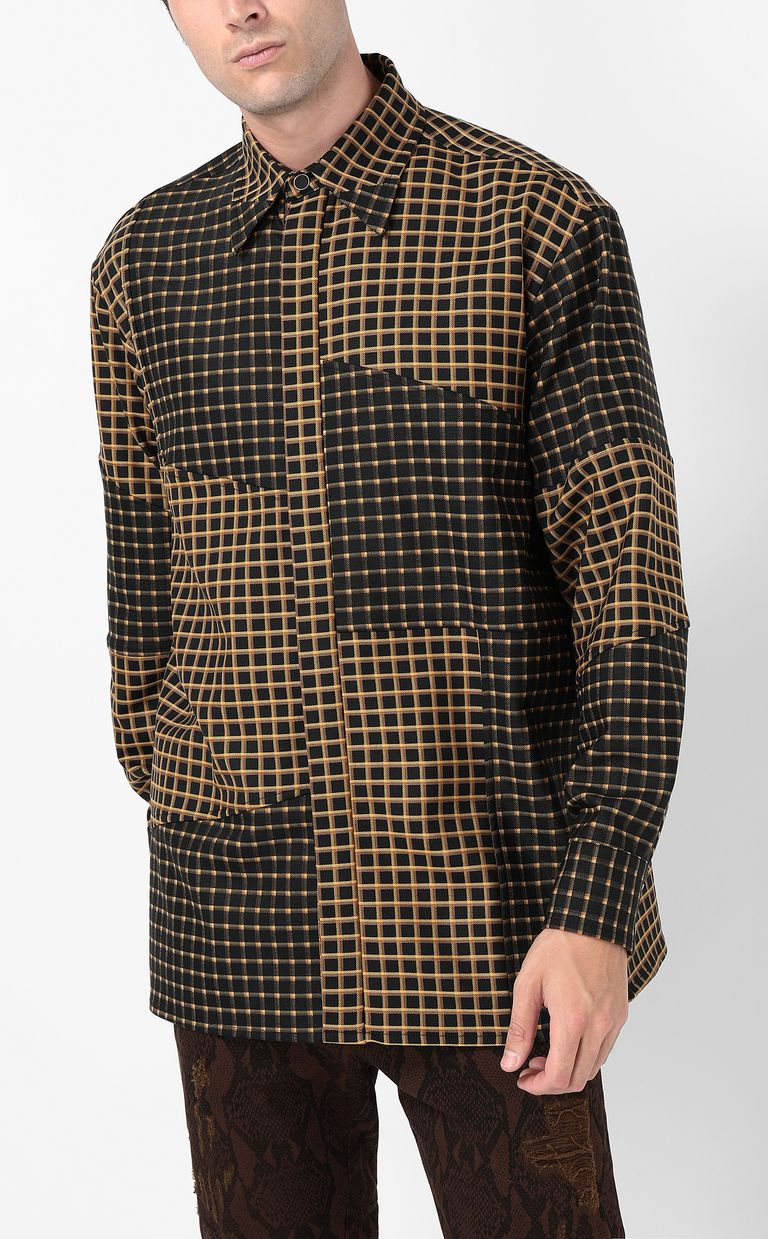 JUST CAVALLI Oversized checked shirt with snake Long sleeve shirt Man r