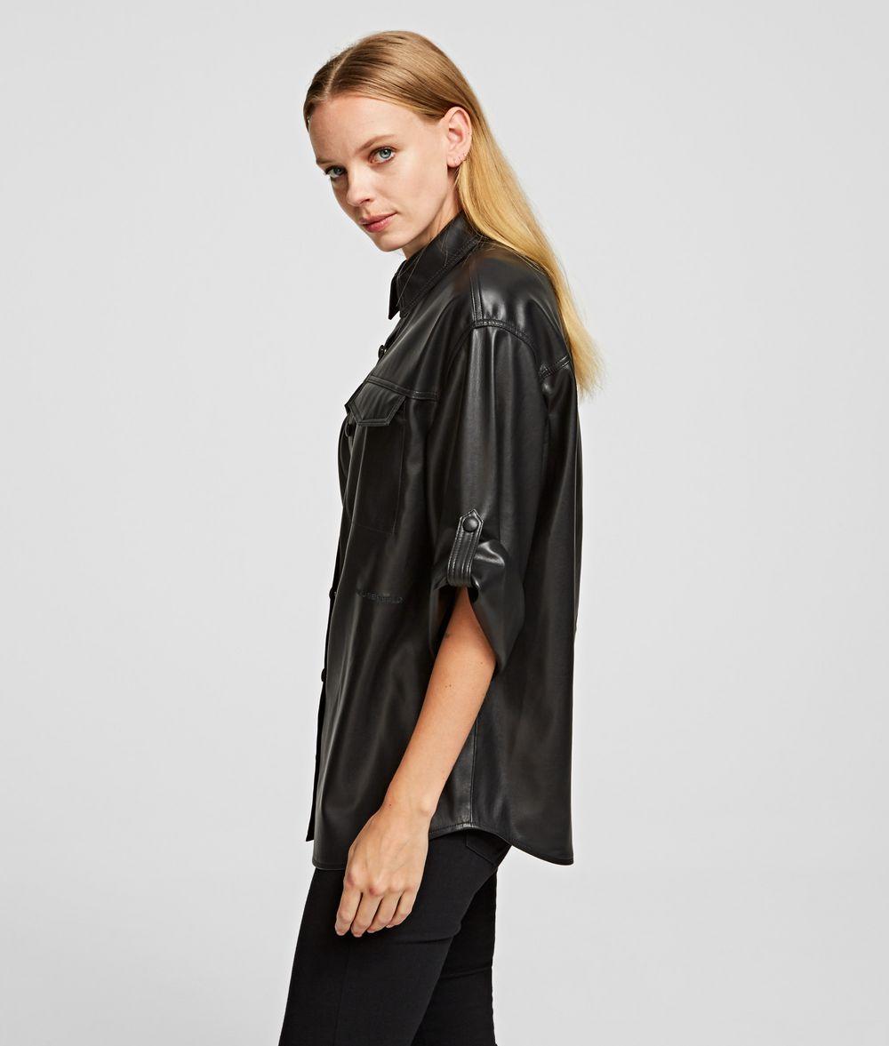 KARL LAGERFELD Faux Leather Shirt Blouse Woman d