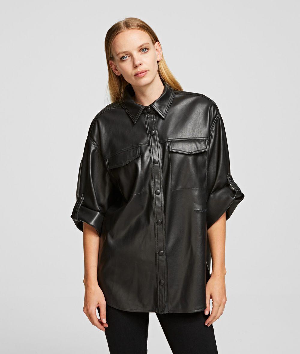 KARL LAGERFELD Faux Leather Shirt Blouse Woman f