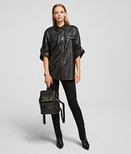 KARL LAGERFELD Faux Leather Shirt 9_f